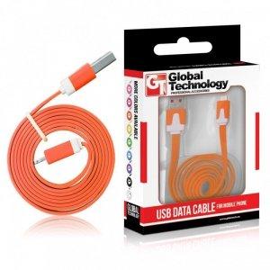 Global Technology KABEL USB IPHONE 5 8PIN iOS7+ PŁASKI POMARAŃCZOWY