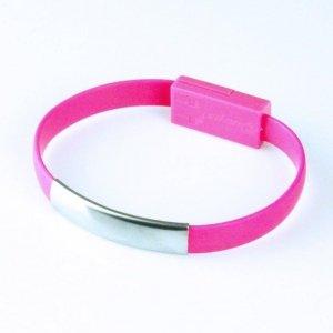 Global Technology KABEL USB iPhone 6/6s/5/5s BRANSOLETKA różowa