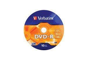 Verbatim DVD-R 16x 4.7GB 10P SP Matt Silver Wrap 43729