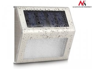 Maclean Lampa solarna 2LED na ogrodzenie, schody MCE119 Energy Inox