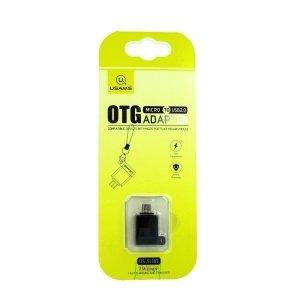 USAMS Adapter A1 micro =USB - USB OTG 2.0 ze smyczą czarny US-SJ187