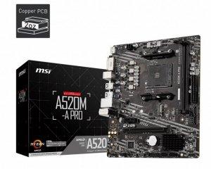 MSI Płyta główna A520M-A PRO AM4 2DDR4 DVI/HDMI USB 3.2 mATX