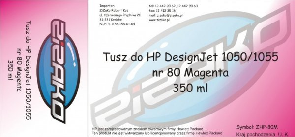 Tusz zamiennik Yvesso nr 80 do HP Designjet 1050/1055 (350 ml) Magenta C4847A