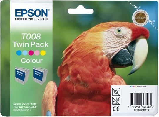 Tusz (Ink) T008 color do Epson Stylus Photo 870/890/915, wyd. do 220 str. - Dwupak