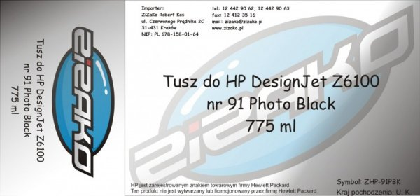 Tusz zamiennik Yvesso nr 91 do HP Designjet Z6100 775 ml Photo Black C9465A