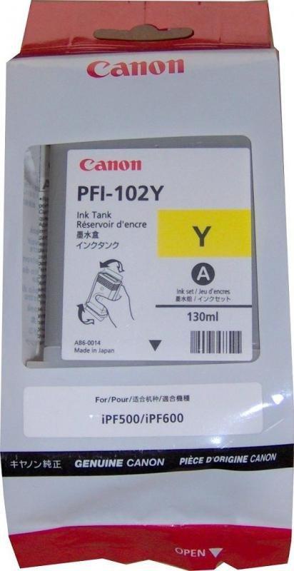 Tusz CANON PFI-102Y 130 ml yellow do IPF500/510/600/605/610/650/655/710/720/750/755/760/765 LP17/24