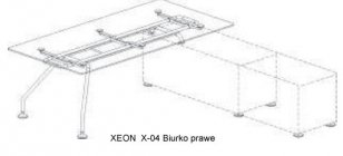 Biurko Xeon prawe wsparte na szafce