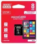 GOODRAM Karta MicroSD 8GB +ADAPTER! CLASS 10 UHS-I