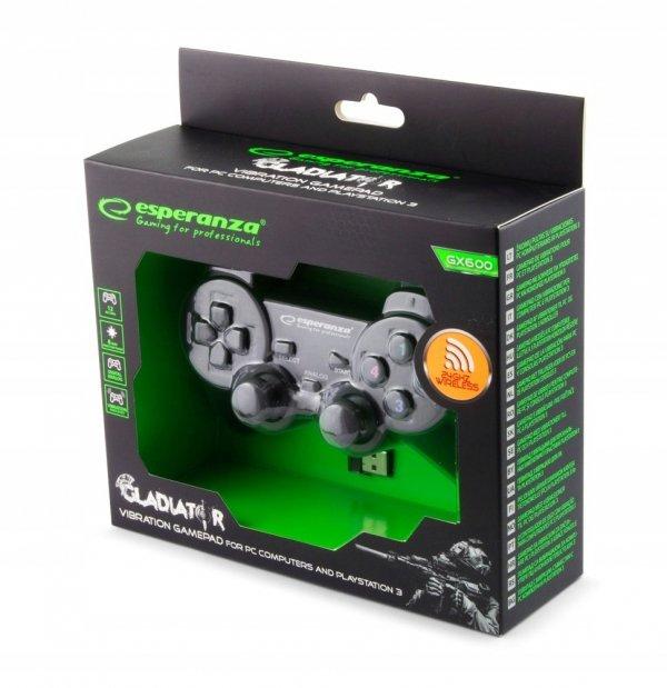 BEZPRZEWODOWY GAMEPAD PAD PC/PS3 WIBRACJA czarny