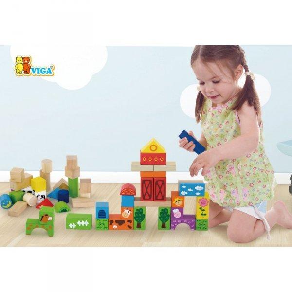 Drewniane klocki Viga Toys Farma 50 elementów