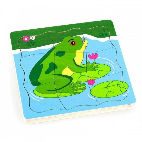 Puzzle drewniane Viga Toys Jak rośnie żabka
