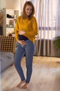Spodnie ciążowe z panelem w romby 4508