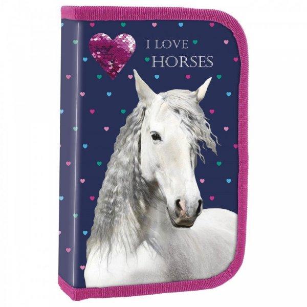 PIÓRNIK DWUKLAPKOWY BEZ WYPOSAŻENIA I LOVE HORSES KOŃ KONIKI