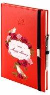 Notes A4 z długopisem zamykany na gumkę z blaszką - papier biały w kratkę - oprawa Vivella czerwona (gumka granatowa) - Z NADRUKIEM NA DZIEŃ MATKI