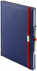 Notes A4 z długopisem zamykany na gumkę z blaszką - papier biały w kratkę - oprawa Vivella granatowa (gumka czerwona)