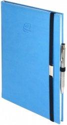 Notes A5 z długopisem zamykany na gumkę z blaszką - papier biały w kratkę - oprawa Vivella niebieska (gumka granatowa)