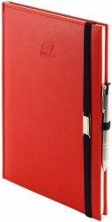 Notes A5 z długopisem zamykany na gumkę z blaszką - papier biały w kratkę - oprawa Vivella czerwona (gumka granatowa)
