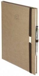 Notes A5 z długopisem zamykany na gumkę z blaszką - papier biały w kratkę - oprawa Vivella beżowa (gumka brązowa)