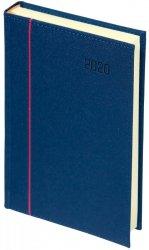 Kalendarz książkowy 2020 A4 dzienny papier chamois wycinane registry oprawa HAGA - oprawa przeszywana - kolor granatowy