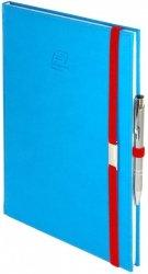 Notes A5 z długopisem zamykany na gumkę z blaszką - papier biały w kratkę ***** oprawa Vivella niebieska (gumka czerwona)