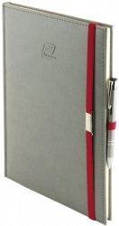 Notes A5 z długopisem zamykany na gumkę z blaszką - papier biały w kratkę - oprawa Vivella szara (gumka czerwona)