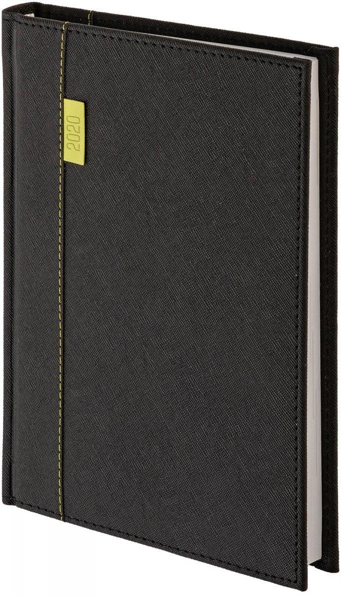 Kalendarz książkowy A5 dzienny  oprawa 2020 Vegas czarna - oprawa przeszywana skóropodobna