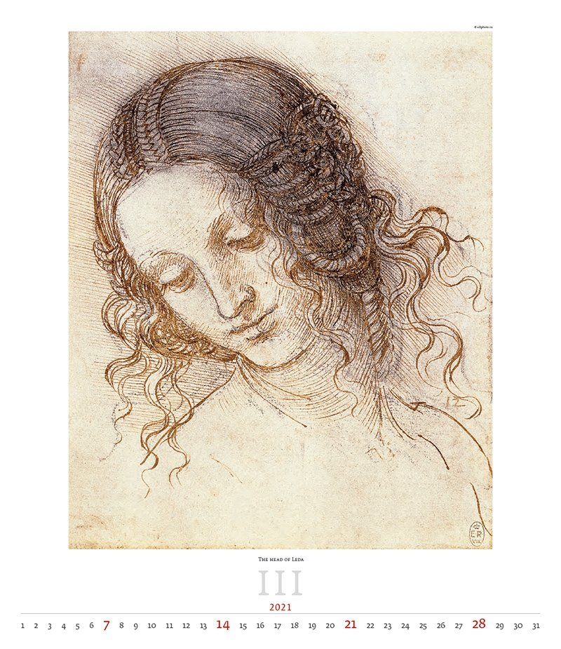 Kalendarz ścienny wieloplanszowy Leonardo da Vinci 2021 - exclusive edition  - marzec 2021