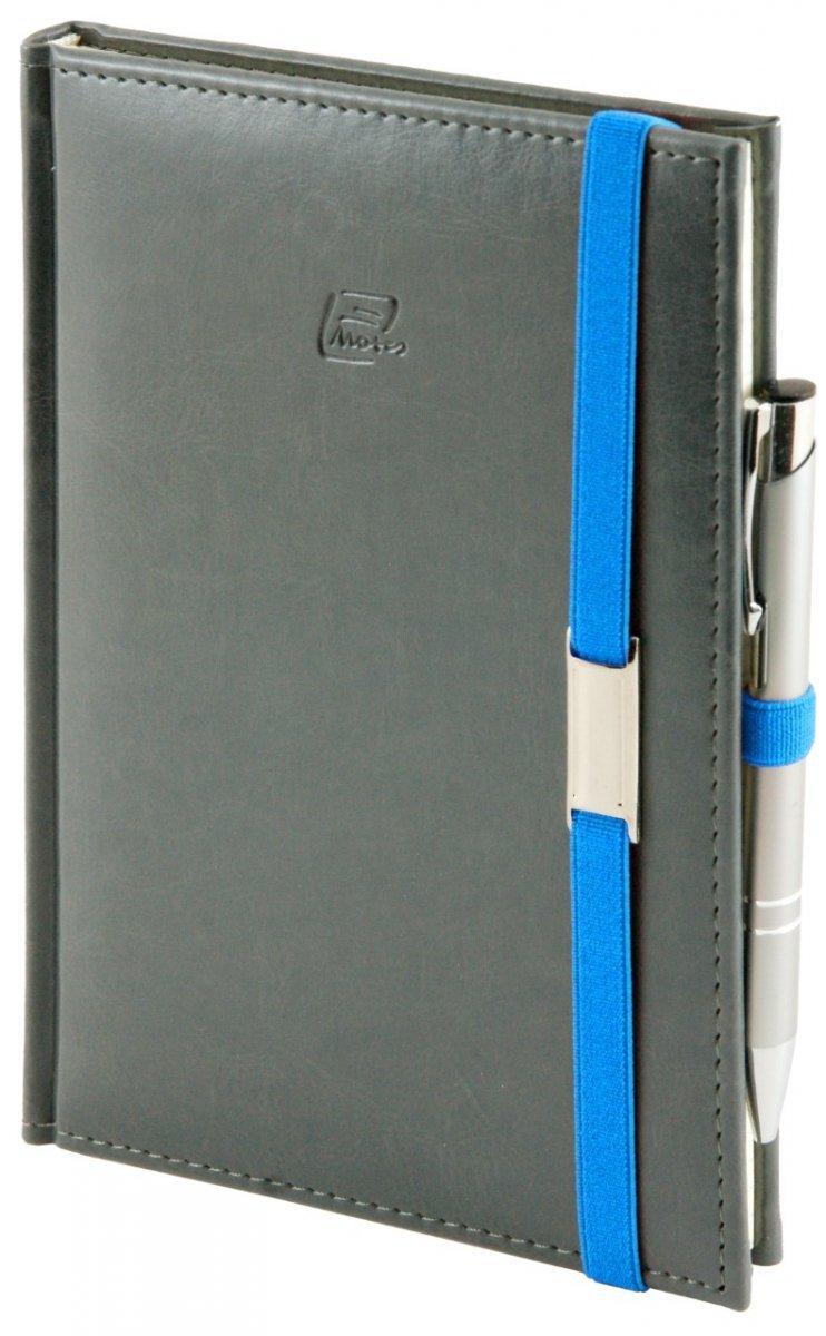 Notes A4 z długopisem zamykany na gumkę z blaszką - papier biały w kratkę *** - oprawa Nebraska szara (gumka niebieska)