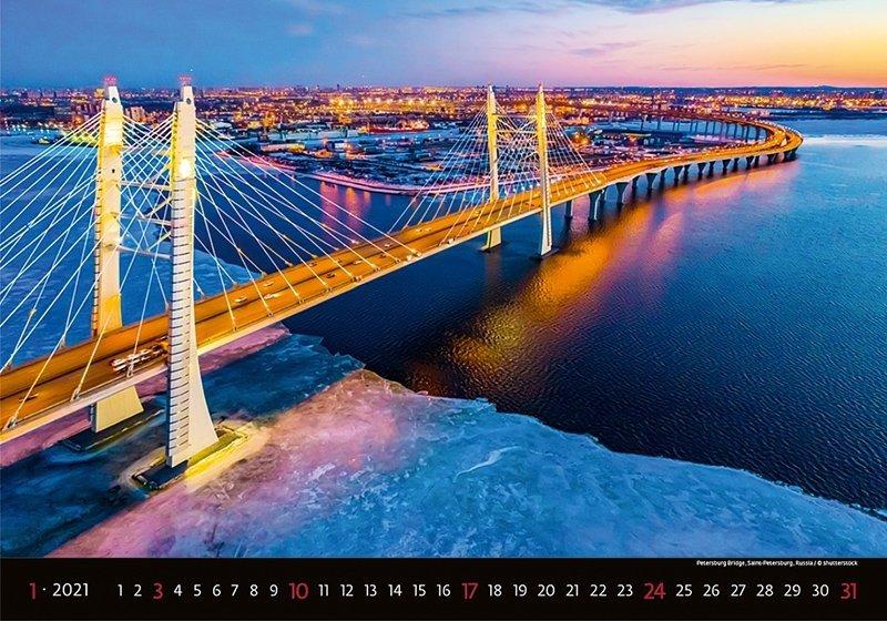 Kalendarz ścienny wieloplanszowy Bridges 2021 - styczeń 2021