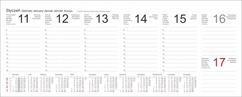 Tygodniowe kalendarium do kalendarza na rok 2021