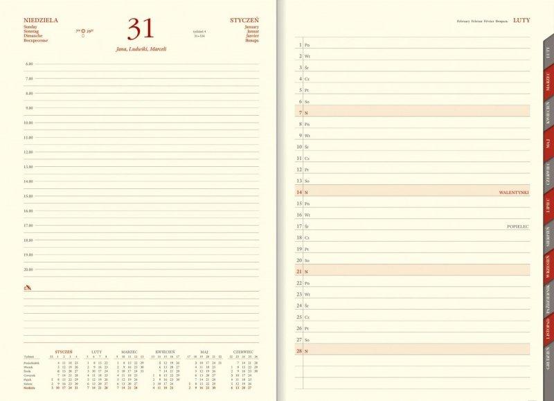 Kalendarz książkowy 2021 A4 dzienny papier chamois wycinane registry