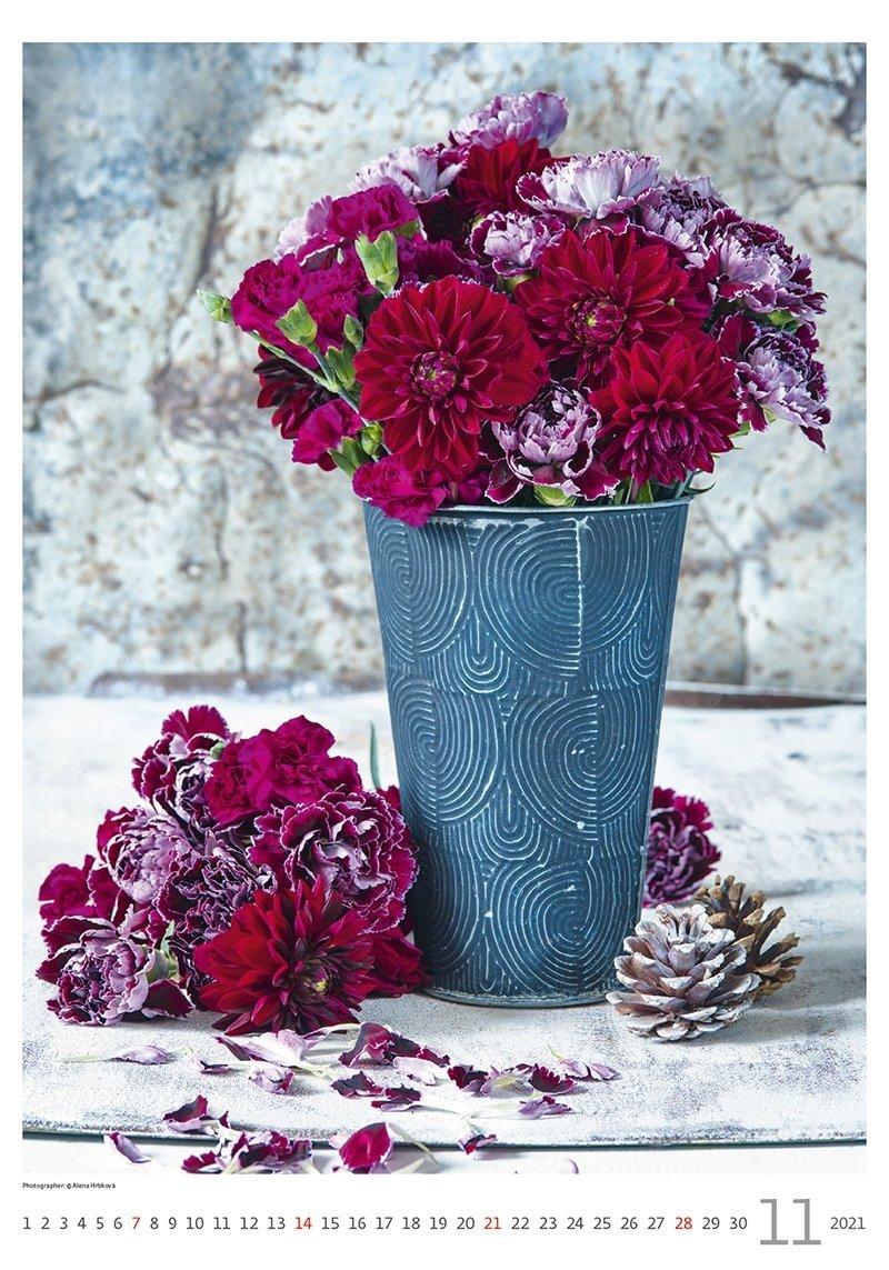 Kalendarz ścienny wieloplanszowy Magic Flowers 2021 - listopad 2021