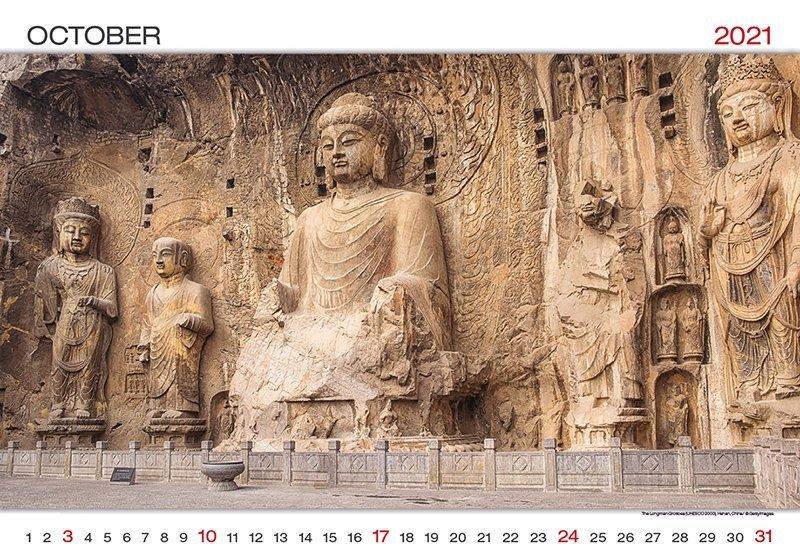 Kalendarz ścienny wieloplanszowy World Wonders 2021 - październik 2021