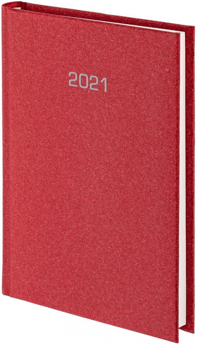 Kalendarz książkowy 2021 B5 tygodniowy oprawa NATURA czerwona