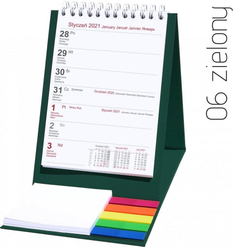 Kalendarz biurkowy z notesem i znacznikami TOP tygodniowy 2021 zielony