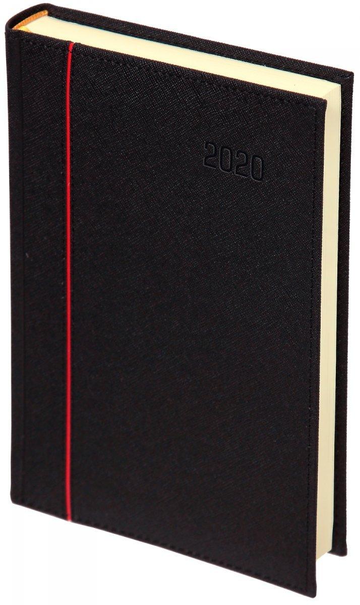 Kalendarz książkowy A5 dzienny oprawa 2020 HAGA - oprawa przeszywana - kolor czarny