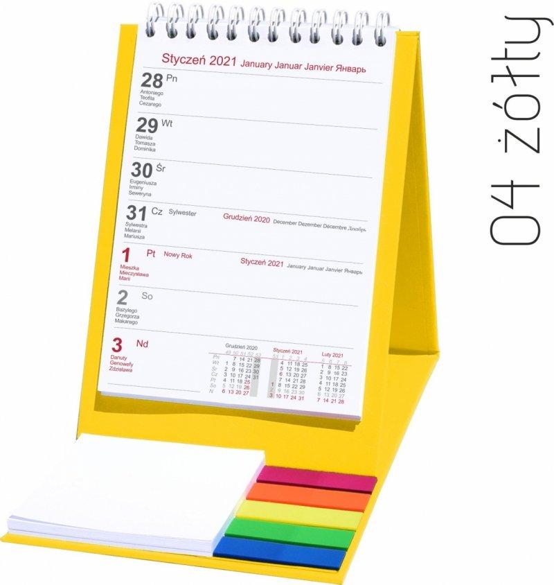Kalendarz biurkowy z notesem i znacznikami TOP tygodniowy 2021 żółty