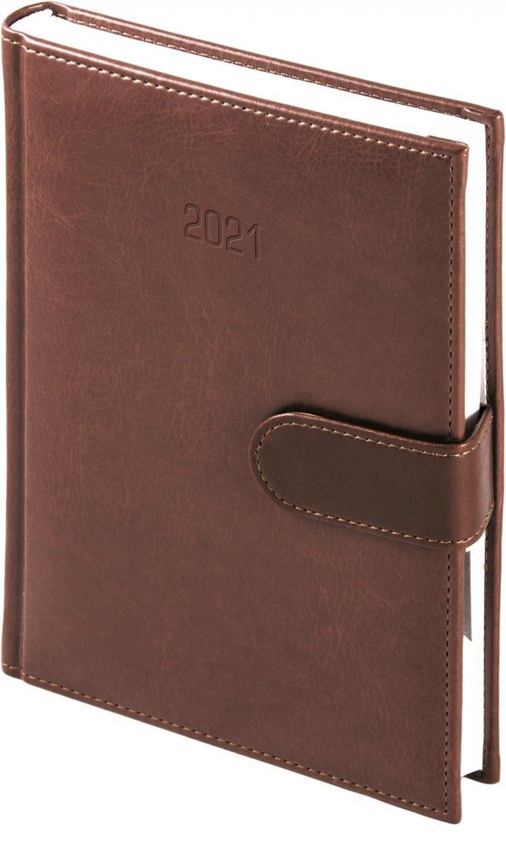 Kalendarz książkowy 2021 A4 dzienny oprawa MAGNESIAN - brązowy oprawa skóropodobna zamykana na magnes