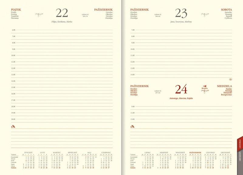 Blok kalendarza  B5 dzienny papier chamois wycinane registry