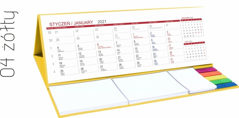 Kalendarz biurkowy z notesami i znacznikami MAXI 2021 żółty