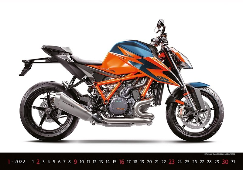Kalendarz ścienny wieloplanszowy Motorbikes 2022 - styczeń 2022