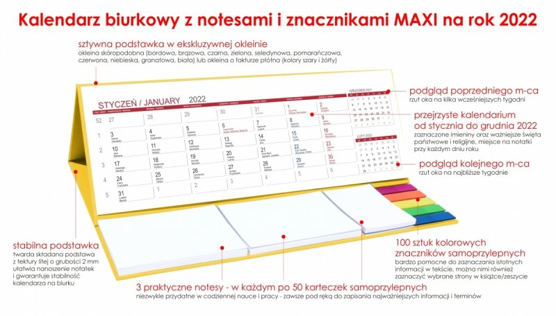 Kalendarz biurkowy z notesami i znacznikami MAXI 2022 żółty