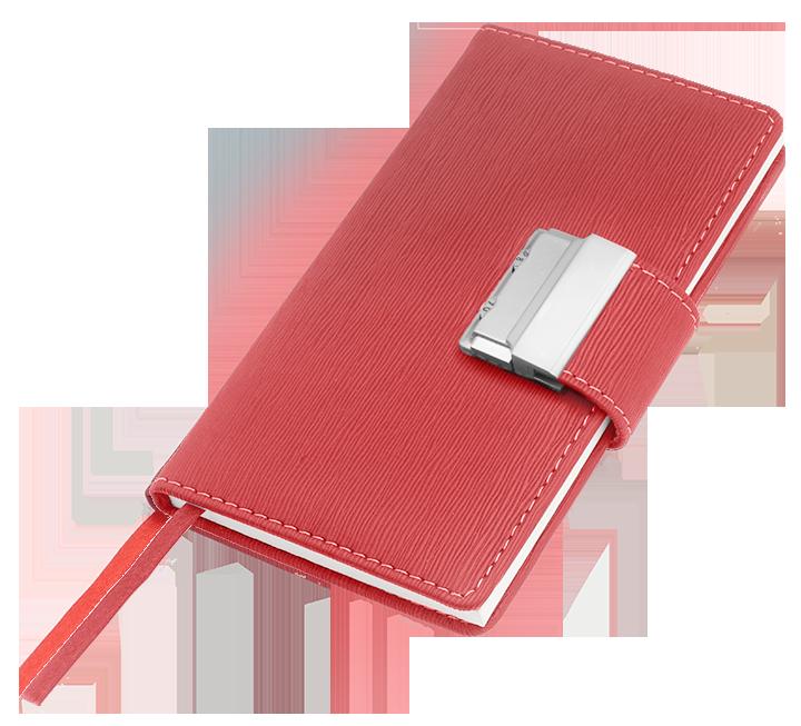 Notes A6 zamykany na szyfrowany zamek - papier chamois w linie oprawa Ekoskóra Eclisse czerwona
