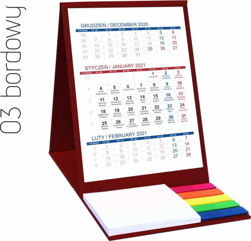 Kalendarz biurkowy z notesem i znacznikami TOP 3-miesięczny 2021 bordowy