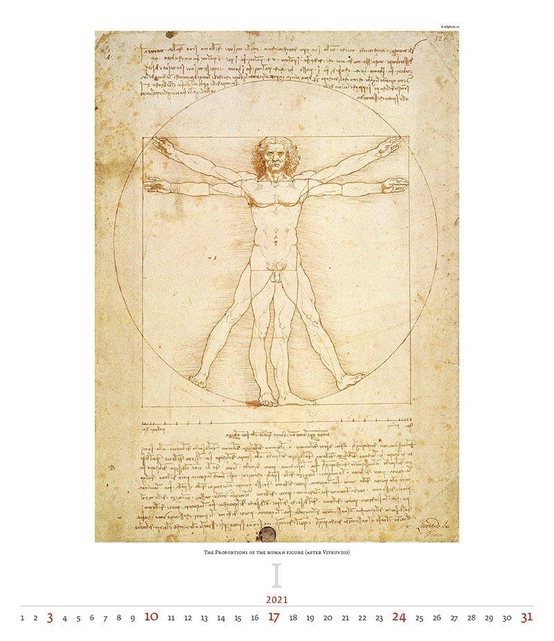 Kalendarz ścienny wieloplanszowy Leonardo da Vinci 2021 - exclusive edition  - styczeń 2021