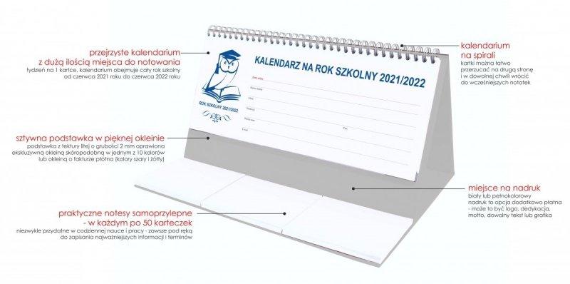 Kalendarz stojący na biurko tygodniowy na rok szkolny 2021/2022