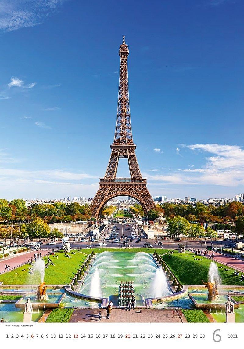 Kalendarz ścienny wieloplanszowy Cities Of Europe 2021 - czerwiec 2021