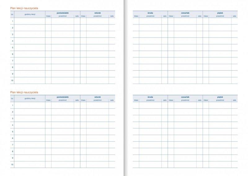Kalendarz nauczyciela - tabele Plan lekcji nauczyciela