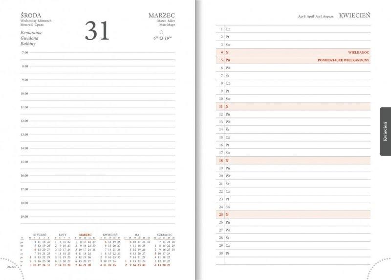 Kalendarz książkowy 2021 A5 dzienny papier biały perforacja