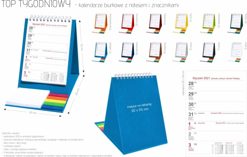 Kalendarz biurkowy z notesem i znacznikami TOP tygodniowy 2021
